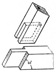 Fig. 170.—Open-Slot     Mortise at 60 degrees.