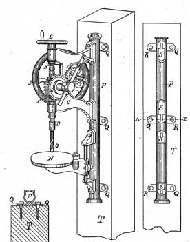 post drill patented in 1883, hand powered by a crank, spindle was lowered  by screw mechanism, usually found in the local blacksmith shop